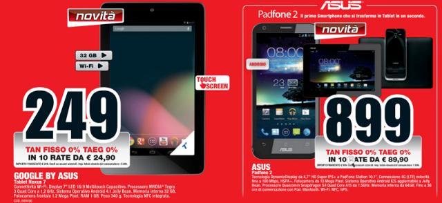 Mediaworld aggiorna il volantino: Nexus 7 32GB e Padfone 2 dall'8 Novembre