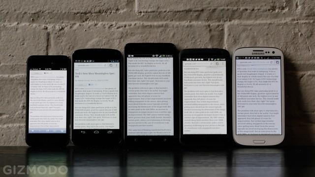 HTC Droid DNA vs iPhone 5 vs Galaxy S III vs Nexus 4 vs One X: confronto display
