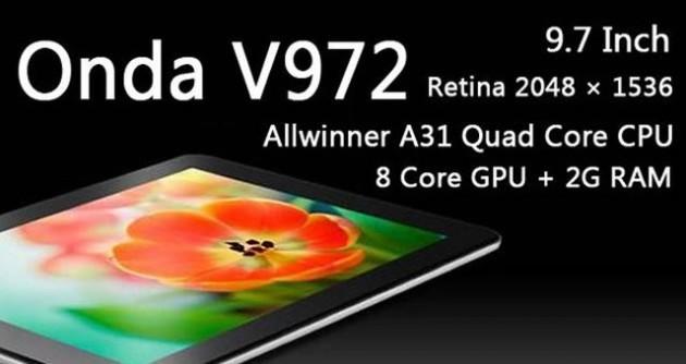 Onda V972: tablet quad-core con display Retina e Jelly Bean a 240$