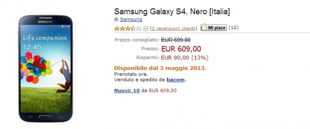 Samsung Galaxy S IV: disponibile su Amazon a 609€ con Garanzia Italia