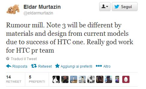 Il Samsung Galaxy Note 3 non avrà materiali metallici, è solo pubblicità per l'HTC One