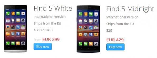 Oppo Find 5 disponibile da oggi: 399€ per la versione a 16GB