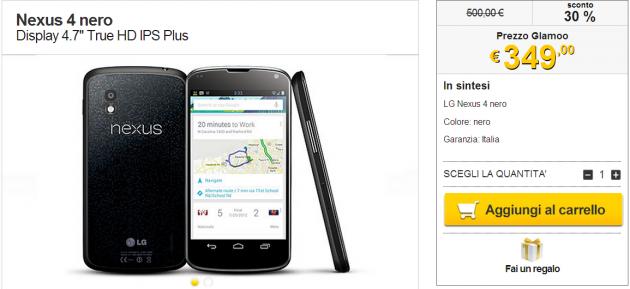 Nexus 4 Italia in offerta a 349 Euro su Glamoo