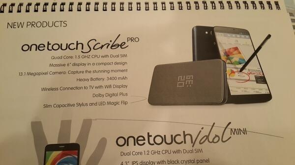 Alcatel One Touch Scribe Pro: display da 6 pollici, CPU quad-core e fotocamera da 13 megapixel