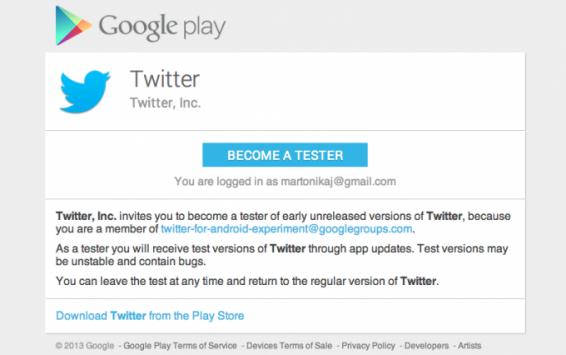 Twitter apre il programma di Beta testing su Google Play