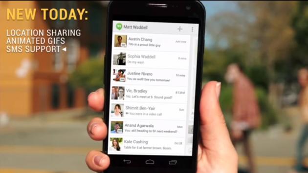 Hangouts si aggiorna: SMS, Condivisione della posizione e immagini animate