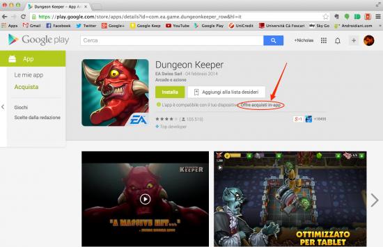La versione web del Google Play Store segnala ora le applicazioni con acquisti in-app