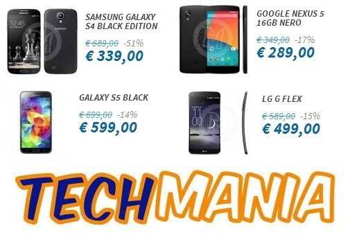 Techmania inaugura la primavera: Galaxy S5 a 599€, LG G Flex a 499€, Galaxy S 4 Black a 339€