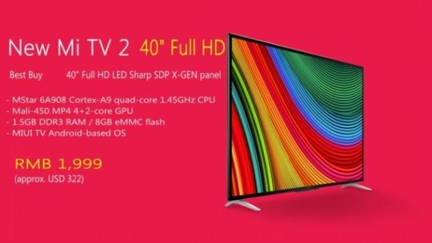 Xiaomi annuncia la nuova Mi TV 2 Full HD a circa 300€