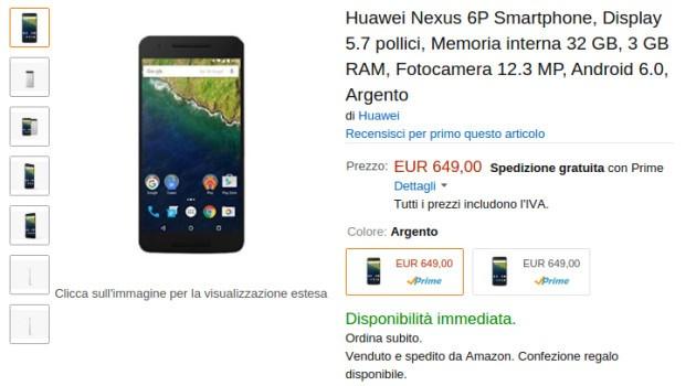 Huawei Nexus 6P disponibile su Amazon Italia a 649€