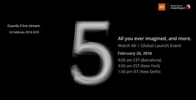 Presentazione Xiaomi Mi 5: live streaming dalle 09.00