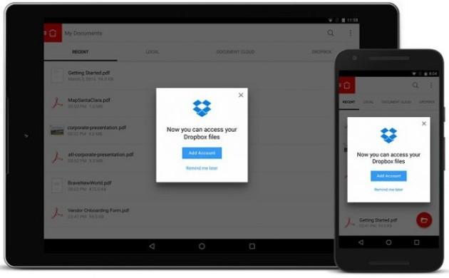 Adobe Acrobat Reader introduce il supporto a Dropbox anche su Android