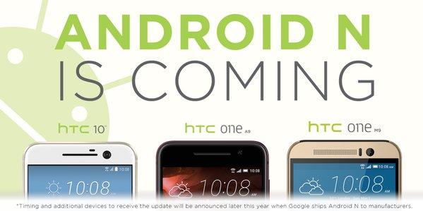 HTC 10, One A9 e One M9 saranno aggiornati ad Android N