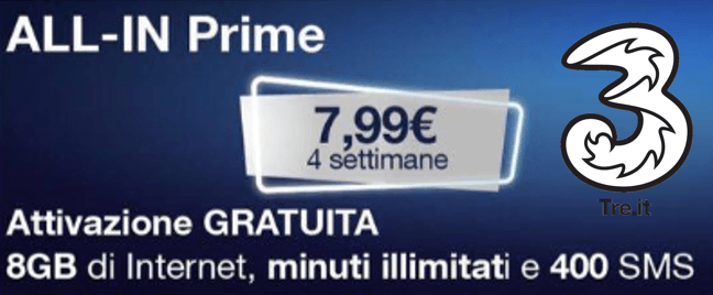 3 Italia ALL-IN Prime disponibile a 7,99 euro (2)