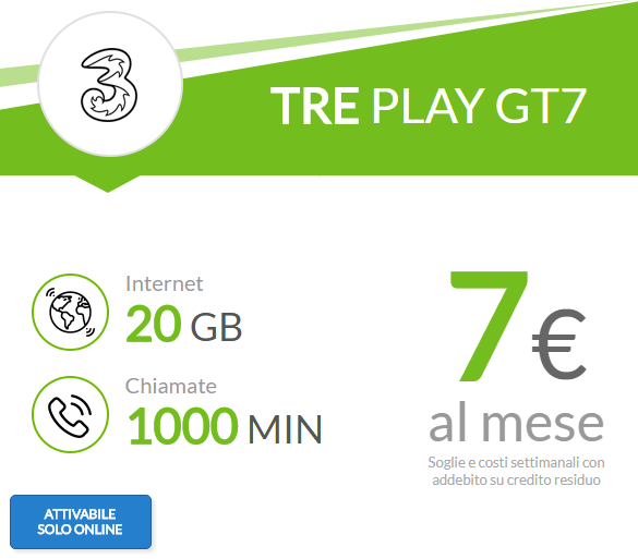 3 Italia Play GT7 è ancora disponibile con ben 20 Giga e 1000 minuti