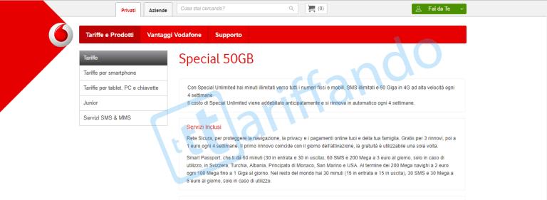 L'offerta Vodafone Special 1000 50GB torna a fare capolino sul web