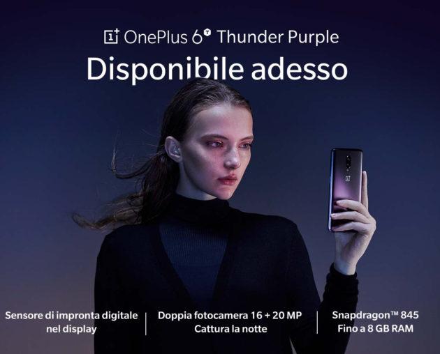 OnePlus 6T Thunder Purple disponibile in Italia
