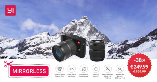 Black Friday:la fotocamera YI M1 con kit 2 lenti a 249 euro fino al 21 novembre