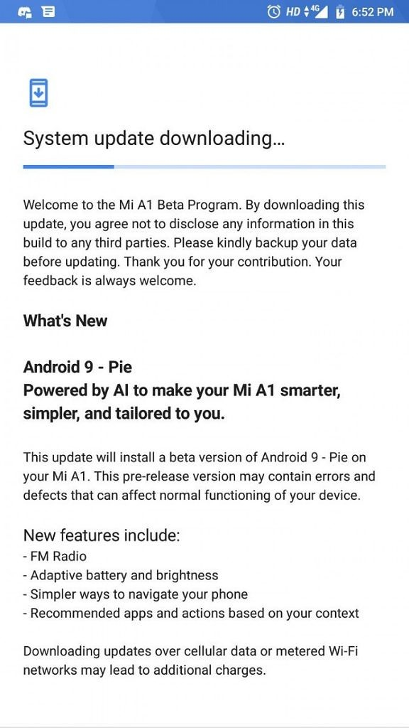 android 9 pie beta xiaomi mi a1 changelog