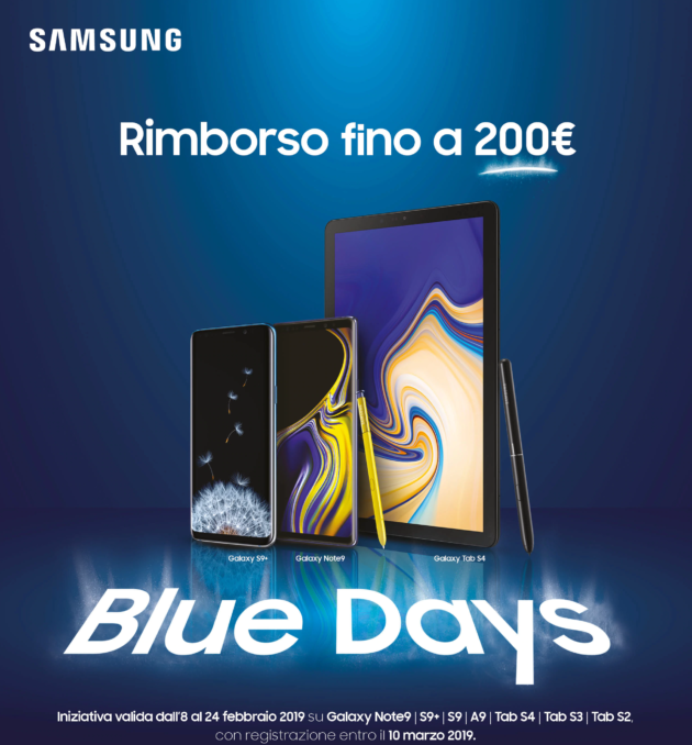 Samsung Blue Days rimborsa fino a 200 euro per l'acquisto di un nuovo Galaxy