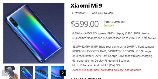 Xiaomi Mi 9: emergono nuovi dettagli ufficiali con preordini da 599 dollari