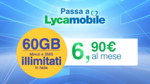 Lycamobile: Internet 60GB sotto rete vodafone, Minuti ed SMS illimitati al prezzo di 6.90€