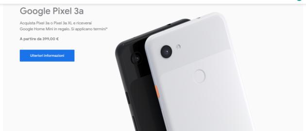 Google regala Home Mini con l'acquisto di un Pixel 3a o 3a XL