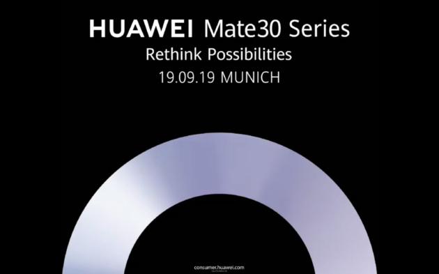 Huawei Mate 30: presentazione il 19 Settembre a Monaco