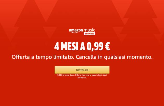 4 mesi di Amazon Music Unlimited a soli 0.99 €