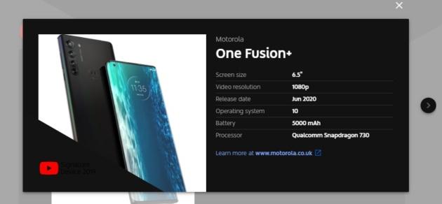 In arrivo il nuovo smartphone Motorola One Fusion+