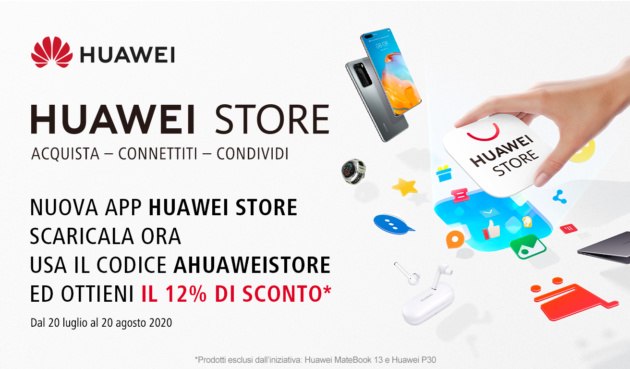 Huawei annuncia l'app Huawei Store e sconta del 12% tutti i prodotti