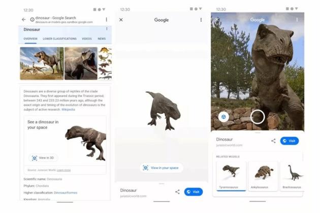 Google consente ora di vedere dei dinosauri con la realtà aumentata