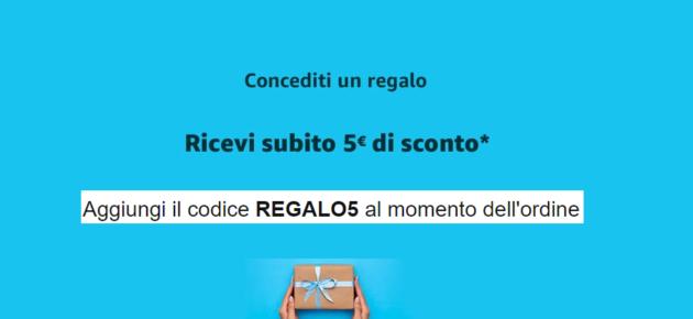 Buono sconto Amazon di 5€ con il codice REGALO5, ecco come ottenerlo