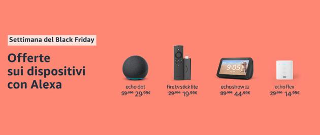 Black Friday: si parte con le offerte bomba sui dispositivi Amazon, anche i nuovi Echo a sfera