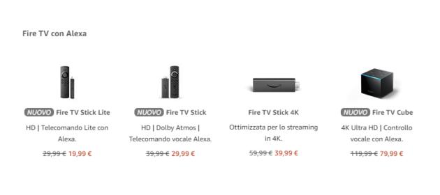 Fire TV Stick Amazon tutti i modelli al miglior prezzo di sempre, si parte da 19 €