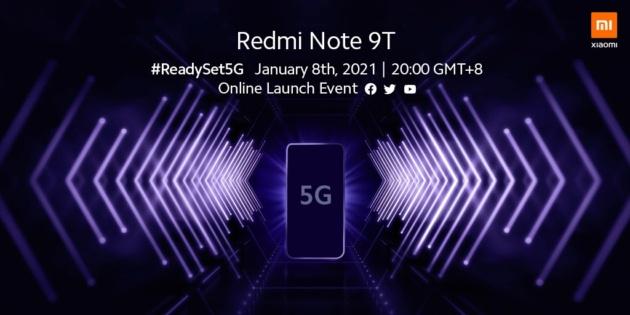 Redmi Note 9T arriverà in Europa l'8 gennaio