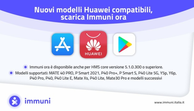 Immuni è ora disponibile su Huawei AppGallery