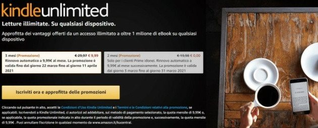 Kindle Unlimited 2 mesi a 0 € nelle Offerte di Primavera Amazon