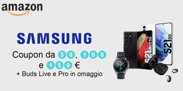 Samsung fino a 150 € di codice sconto su gamma Galaxy S21 e Watch su Amazon + Buds Live o Pro in omaggio