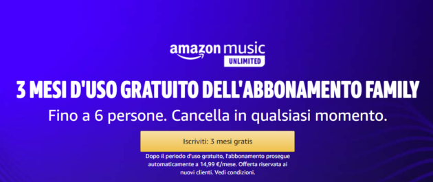 Amazon Music Unlimited: 3 mesi gratuiti con pacchetto family (fino a 6 persone)